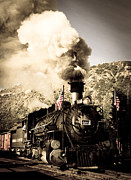 Colorado Flag Posters - Durango - Silverton Railroad Poster by Adam Pender