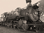 Steam And Smoke Prints - Durango Silverton 480 Sepia Print by Ernie Echols