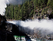 Boiler Photos - Durango Silverton blowing off steam by Ernie Echols