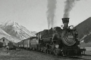 Steam Locomotives Digital Art Posters - Durango Silverton BW Painterly 2 Poster by Ernie Echols