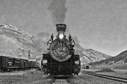 Steam Locomotives Digital Art Posters - Durango Silverton BW Painterly 3 Poster by Ernie Echols