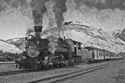 Steam Locomotives Digital Art Posters - Durango Silverton BW Painterly  Poster by Ernie Echols