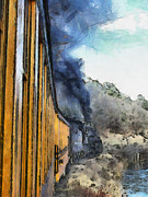 Narrow Gauge Engine Prints - Durango Silverton Painterly 3 Print by Ernie Echols