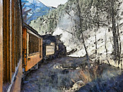 Old Town Digital Art Framed Prints - Durango Silverton Painterly Framed Print by Ernie Echols