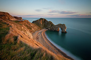 High Angle View Framed Prints - Durdle Door On Jurassic Coast Framed Print by Mark Freeman