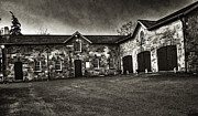 Dundurn Castle Photos - Durdurn Castle Coach House BW by Larry Simanzik