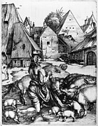 Prodigal Son Framed Prints - Durer: Prodigal Son, 1496 Framed Print by Granger