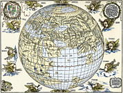 Old Earth Map Prints - Durers World Map, 1515 Print by Sheila Terry