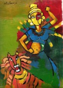 Goddess Durga Painting Framed Prints - Durga Framed Print by Abdus Salam
