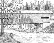 Covered Bridge Drawings Posters - Durgin Bridge Poster by Tim Murray