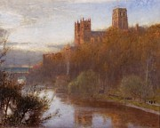 Reflecting Trees Posters - Durham Cathedral Poster by Albert Goodwin