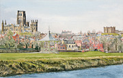 Band Painting Originals - Durham Cathedral from old Race couse by George Levitt