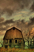 Farm Scene Framed Prints - Dusk Abandoned  Framed Print by Emily Stauring