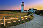 Golden Light Photos - Dusk at Cape Cod Lighthouse by Thomas Schoeller