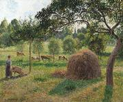 Grazing Cow Posters - Dusk at Eragny Poster by Camille Pissarro