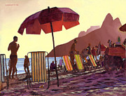 Rio Framed Prints - Dusk at Ipanema 1 Framed Print by Douglas Simonson