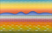 Op Art Painting Posters - Dusk at Lake Balaton Poster by Emil Parrag