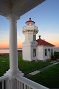 Red Roof Photos - Dusk at Mukilteo Lighhouse by Inge Johnsson