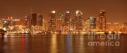 City Lights Photos - Dusk at San Diego Harbor by Sandra Bronstein
