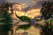 Dinosaurs Posters - Dusk at the waterhole Poster by Claude McCoy