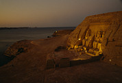 Ruins And Remains Prints - Dusk Descends On Abu Simbel With Lake Print by O. Louis Mazzatenta