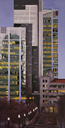 Skyscrapers. Painting Posters - Dusk Poster by Duane Gordon