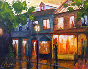 Washington Dc Paintings - Dusk in Alexandria by Christopher Clark