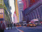 Taxi Posters - Dusk on 57th Street Poster by Patti Mollica