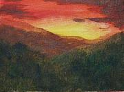 Smokey Mountains Paintings - Dusk over Smokey by Trilby Cole