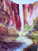Yosemite Mixed Media Posters - Dusk over the Yosemite Falls in the Fall Poster by Trilby Cole