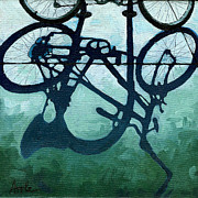 Linda Apple Metal Prints - Dusk Shadows - bicycle art Metal Print by Linda Apple