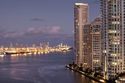 Home Ownership Framed Prints - Dusk View From Brickell To The Port Of Miami Framed Print by Marcaux