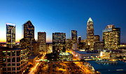 Charlotte Photo Prints - Dusk view of downtown Charlotte NC Print by Patrick Schneider