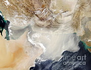 Oman Prints - Dust Storm Over The Arabian Sea Print by NASA / Science Source