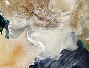 Oman Prints - Dust Storm Over The Arabian Sea Print by Nasa