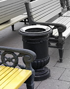 Benches Photo Originals - Dustbin and Benches by Padamvir Singh