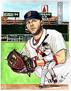 Mlb Drawings Posters - Dustin Pedroia Poster by Dave Olsen