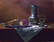 Pewter Jug Prints - Dutch roemer with bread and grapes Print by Tom Jennerwein
