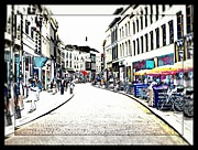 Dutch Shopping Street- Digital Art Print by Carol Groenen