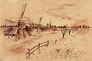 Fence Drawings - Dutch Windmills by Ernestine Grindal
