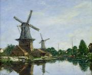 Canals Painting Framed Prints - Dutch Windmills Framed Print by Eugene Louis Boudin