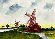 Windmill Paintings - Dutch Windmills by Michael Vigliotti