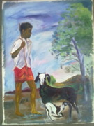 Goat Painting Originals - Duty by Nagin Bangaru
