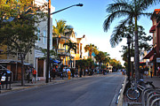 City Restaurants Framed Prints - Duval Street in Key West Framed Print by Susanne Van Hulst