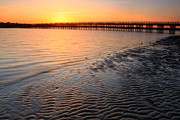 Duxbury Posters - Duxbury Beach Powder Point Bridge Sunset Poster by John Burk