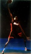 Lebron James Painting Framed Prints - Dwade Eclipse  Framed Print by Brandon Hughes