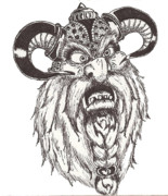 Beards Drawings Prints - Dwarf Berserker Print by Law Stinson
