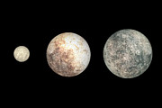 Scale Digital Art Prints - Dwarf Planets Ceres, Pluto, And Eris Print by Walter Myers