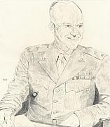 General Dwight D Eisenhower Drawings Posters - Dwight David Eisenhower  Poster by Dennis Larson