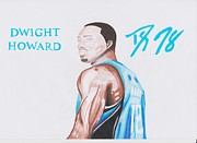 Nba Drawings Posters - Dwight Howard Poster by Toni Jaso